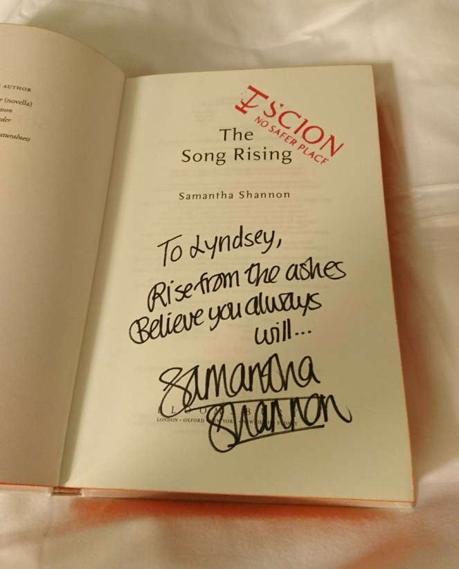 The Song Rising signed Samantha Shannon